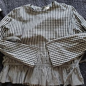 Cotton black and white gingham long sleeve top